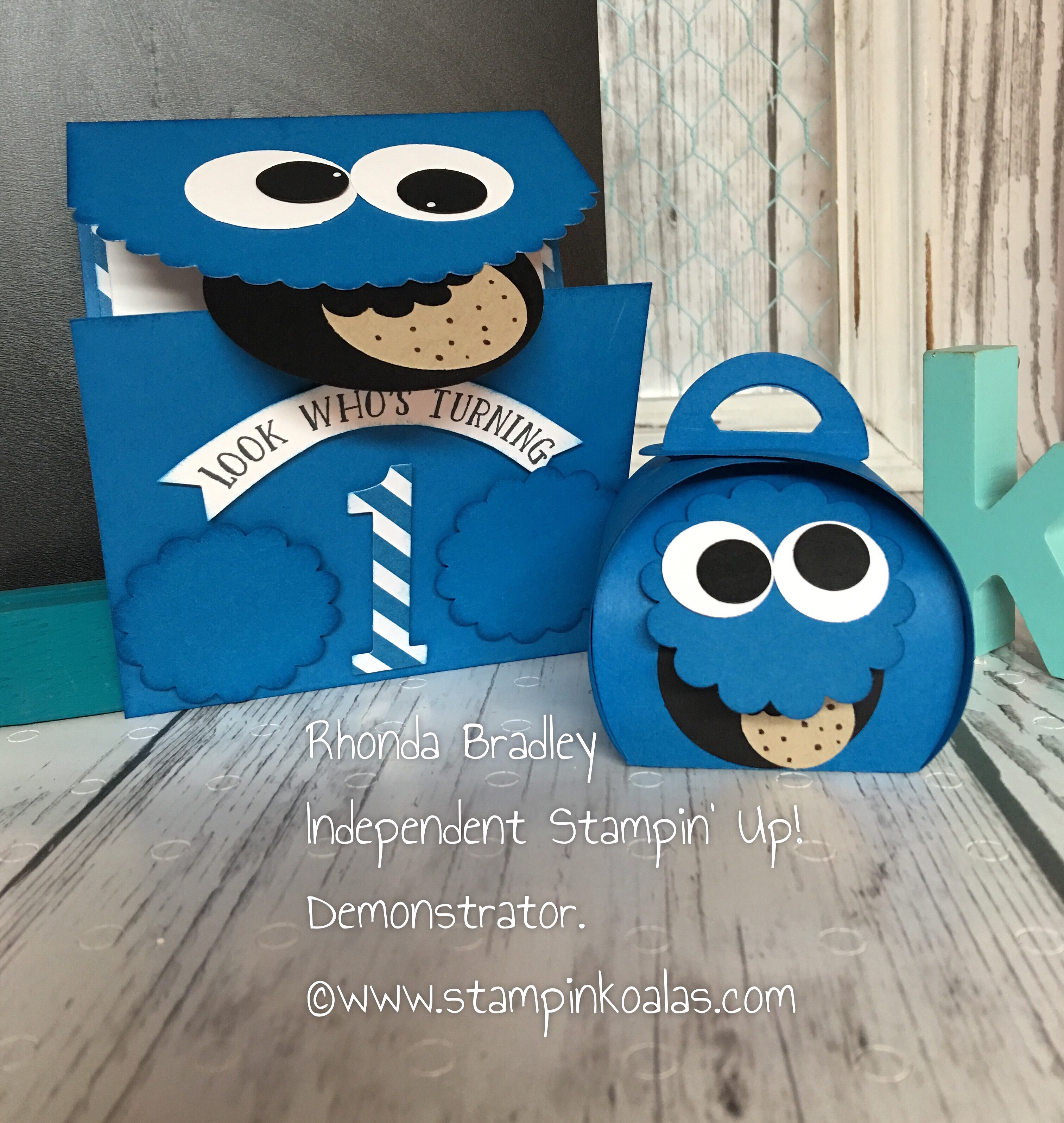 Cookie Monster Invitation And Curvy Keepsake Treat Box Stampin Koalas